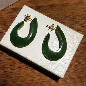 Vintage Jade Pierced Earrings